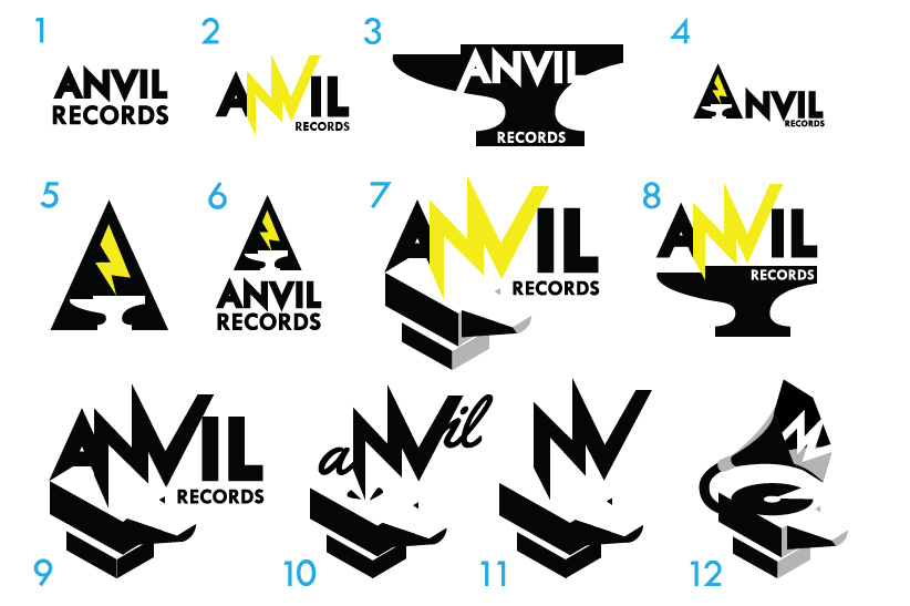 First twelve concepts for a record company logo.